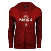 ENZA Ladies Cardinal Fleece Full Zip Hoodie-Pioneers Lacrosse Geometric Stick Head