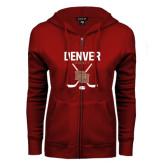 ENZA Ladies Cardinal Fleece Full Zip Hoodie-Denver Hockey Tall Crossed Sticks