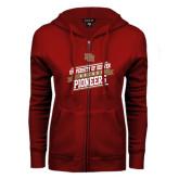 ENZA Ladies Cardinal Fleece Full Zip Hoodie-Pioneers Hockey Slanted Banner Text