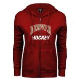 ENZA Ladies Cardinal Fleece Full Zip Hoodie-Arched Denver Hockey