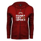 ENZA Ladies Cardinal Fleece Full Zip Hoodie-Bump Set Spike Volleyball