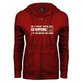 ENZA Ladies Cardinal Fleece Full Zip Hoodie-2017 NCAA Division I Mens Hockey Champions