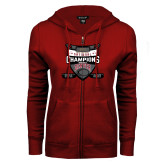 ENZA Ladies Cardinal Fleece Full Zip Hoodie-DU Mens Lacrosse Champions