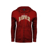 ENZA Ladies Cardinal Fleece Full Zip Hoodie-Arched U of Denver 2 Color Version