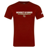Adidas Cardinal Logo T Shirt-University of Denver Pioneers Bar Stacked