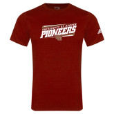Adidas Cardinal Logo T Shirt-University of Denver Pioneers Slanted w/ Logo