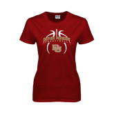 Ladies Cardinal T Shirt-Basketball in Ball