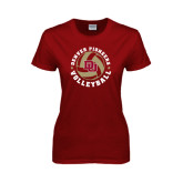 Ladies Cardinal T Shirt-Volleyball Stars Design