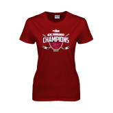Ladies Cardinal T Shirt-2014 NCHC Tournament Champions