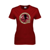 Ladies Cardinal T Shirt-Skier Jumping Ski Design