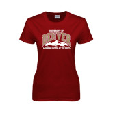 Ladies Cardinal T Shirt-Lacrosse Capital of the West