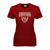 Ladies Cardinal T Shirt-NCAA Division I Lacrosse Champs