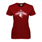 Ladies Cardinal T Shirt-Mens NCAA Lacrosse Champs