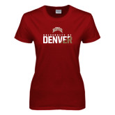 Ladies Cardinal T Shirt-Stacked University of Denver - Two Tone