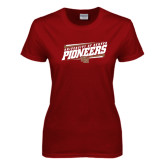 Ladies Cardinal T Shirt-University of Denver Pioneers Slanted w/ Logo