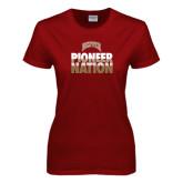 Ladies Cardinal T Shirt-Pioneer Nation