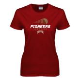 Ladies Cardinal T Shirt-Pioneers Lacrosse Modern