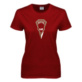 Ladies Cardinal T Shirt-Denver LAX Geometric Stick