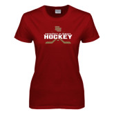 Ladies Cardinal T Shirt-University of Denver Hockey Crossed Sticks