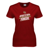 Ladies Cardinal T Shirt-Pioneers Hockey Slanted Banner Text