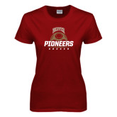 Ladies Cardinal T Shirt-Pioneers Soccer Half Ball