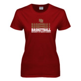 Ladies Cardinal T Shirt-Basketball Repeating