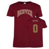 Ladies Cardinal T Shirt-Arched Denver, Custom Tee w/ Name and #