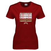 Ladies Cardinal T Shirt-2017 NCAA Division I Mens Hockey Champions