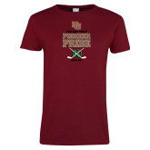 Ladies Cardinal T Shirt-Pioneer Pride Hockey