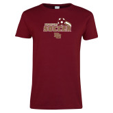 Ladies Cardinal T Shirt-Pioneers Soccer
