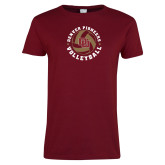 Ladies Cardinal T Shirt-DU Volleyball