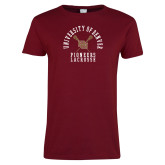 Ladies Cardinal T Shirt-Pioneers Lacrosse