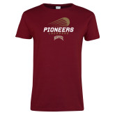 Ladies Cardinal T Shirt-Pioneers Lacrosse Denver