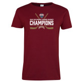 Ladies Cardinal T Shirt-NCHC Ice Hockey Champions