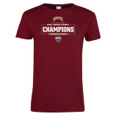 Ladies Cardinal T Shirt-2018 Ice Hockey Champions