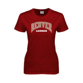 Ladies Cardinal T Shirt-Lacrosse