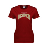 Ladies Cardinal T Shirt-Arched U of Denver 2 Color Version