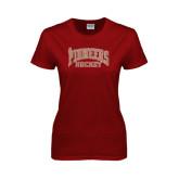 Ladies Cardinal T Shirt-JR Pioneers Hockey