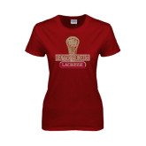 Ladies Cardinal T Shirt-Denver Pioneers Lacrosse Stick
