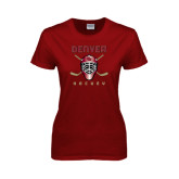 Ladies Cardinal T Shirt-Denver Hockey w/Mask