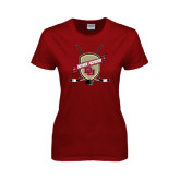Ladies Cardinal T Shirt-Denver Pioneers Hockey Emblem w/Sticks