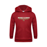 Youth Cardinal Fleece Hood-University of Denver Pioneers Bar Stacked