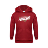 Youth Cardinal Fleece Hood-University of Denver Pioneers Slanted w/ Logo