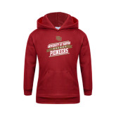 Youth Cardinal Fleece Hood-Pioneers Hockey Slanted Banner Text