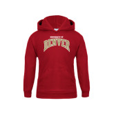 Youth Cardinal Fleece Hood-Arched U of Denver 2 Color Version