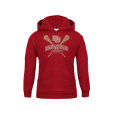 Youth Cardinal Fleece Hood-DU Crossed Lacrosse Sticks