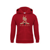Youth Cardinal Fleece Hood-DU Hockey w/Crossed Sticks