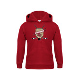 Youth Cardinal Fleece Hood-Denver Pioneers Hockey Emblem w/Sticks