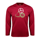 Syntrel Performance Cardinal Longsleeve Shirt-Peace, Love, and Volleyball