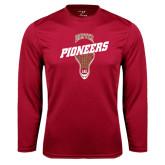 Syntrel Performance Cardinal Longsleeve Shirt-Pioneers Slanted Lacrosse Head